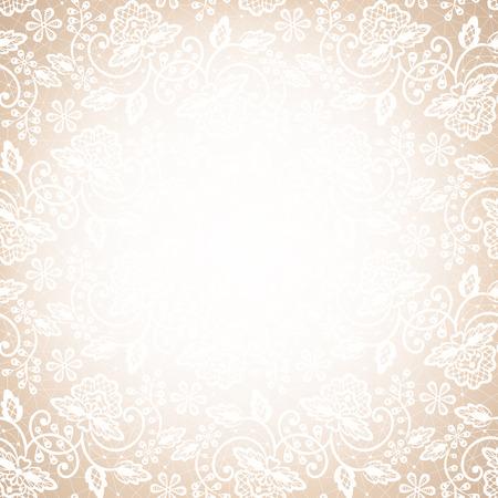 hojas antiguas: Plantilla para la boda, invitaci�n o tarjeta de felicitaci�n con marco de encaje blanco sobre fondo beige Vectores