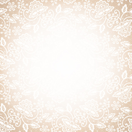 Template for wedding, invitation or greeting card with white lace frame on beige background