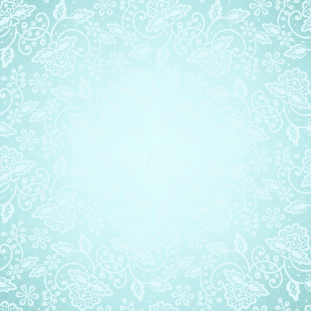Template for wedding, invitation or greeting card with white lace frame on blue background
