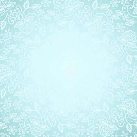Sjabloon voor bruiloft, uitnodiging of wenskaart met witte kant frame op een blauwe achtergrond