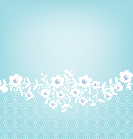 baroque pearl: Template for wedding, invitation or greeting card with white lace border on blue background