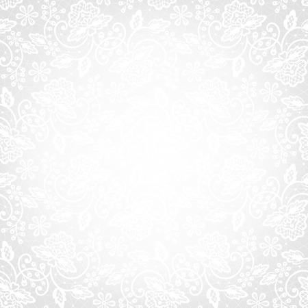 Sjabloon voor bruiloft, uitnodiging of wenskaart met witte kant achtergrond Stock Illustratie
