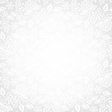 Template for wedding, invitation or greeting card with white lace background Illustration