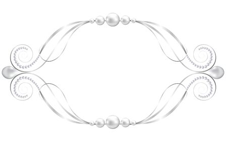 silver jewelry: Silver jewelry floral frame isolated on white Illustration