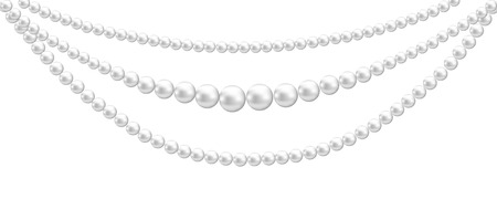 pearl necklace: White pearl decoration isolated on white background