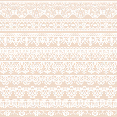 tights: Set of white lace borders isolated on beige background Illustration