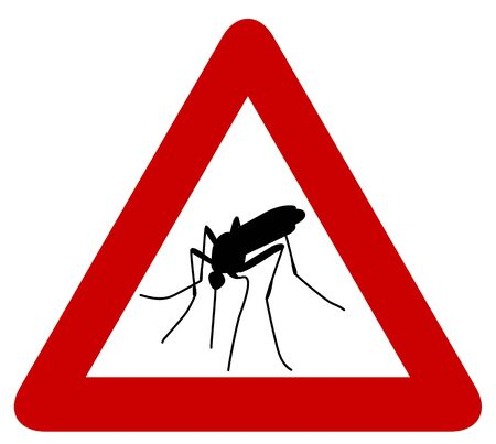 dengue fever: Red warning sign with black silhouette of mosquito
