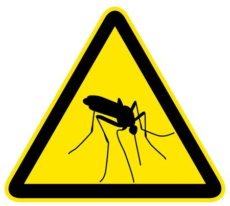 dengue fever: Yellow warning sign with black silhouette of mosquito Illustration