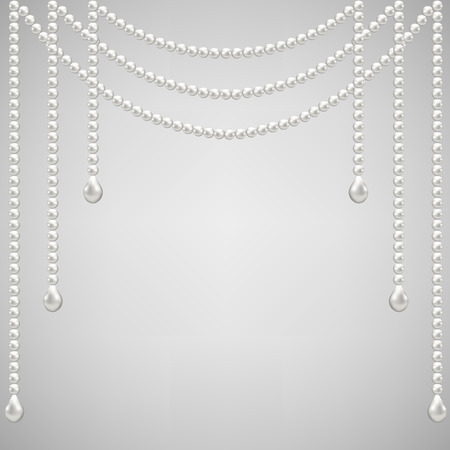 pearl: Gray background with pearl necklace. Vector illustrator