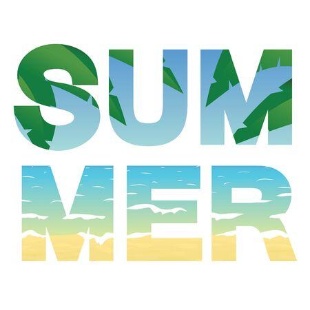 sand beach: Word summer, ocean, sand beach and palm