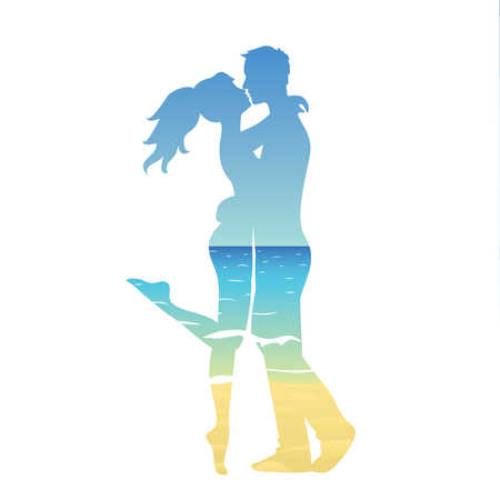 multiple exposure: Silhouette of young couple and ocean landscape Illustration
