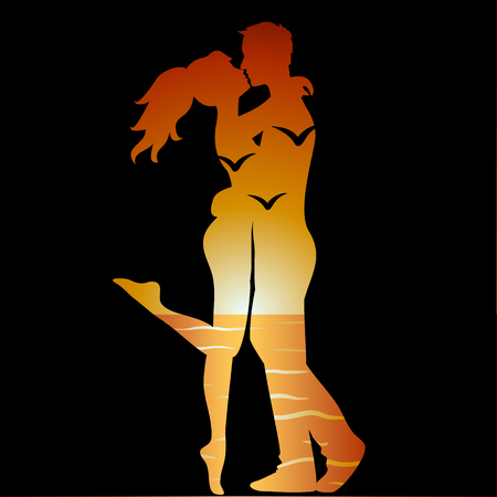 happy couple beach: Silhouette of young couple and ocean landscape Illustration