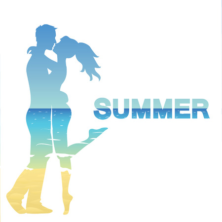 couple in summer: Silhouette of young couple and ocean landscape Illustration