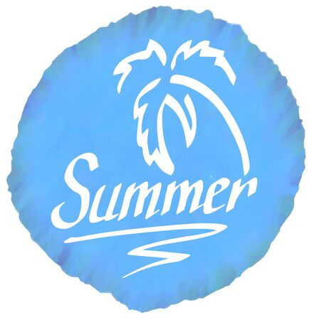 resort: Summer logo on blue watercolor spot isolated on white Illustration