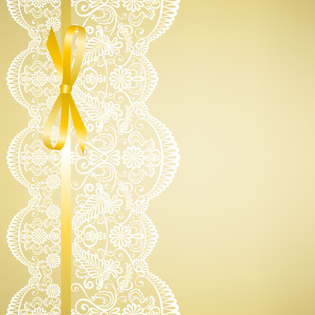 wedding border: Wedding or baby shower invitation or greeting card with lace on yellow background