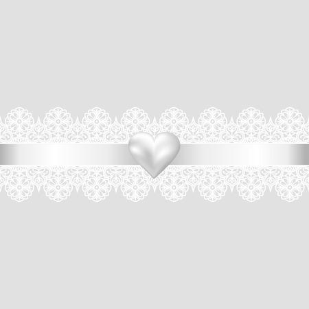encaje: Plantilla para la boda, invitaci�n o tarjeta de felicitaci�n con fondo de tela de encaje y coraz�n de la perla