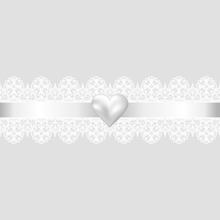 lace: Template for wedding, invitation or greeting card with lace fabric background and pearl heart