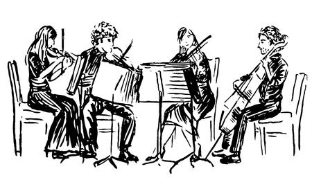 Hand-drawn sketch of musicians playing in quartet Ilustração