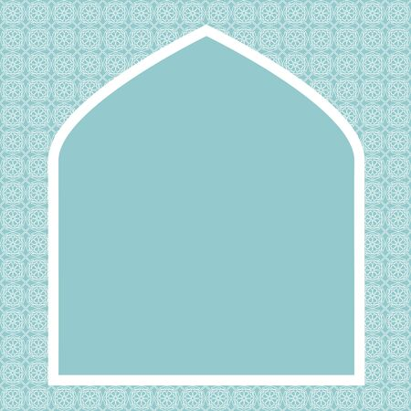 islamic: Islamic card with net pattern on green background