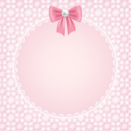 pink vintage: Template for wedding, invitation or greeting card with white lace frame on pink background