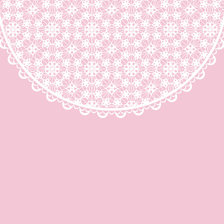 background pink: Template for wedding, invitation or greeting card with white lace frame on pink background