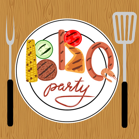 dinner party table: Barbecue food on wooden table. BBQ party Illustration