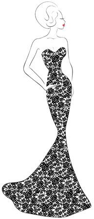Fashion illustration de femme en robe de dentelle de soirée Vecteurs