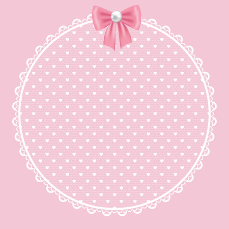 pink floral: Template for wedding, invitation or greeting card with white lace frame on pink background