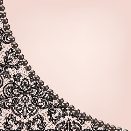 Bruiloft uitnodiging of wenskaart met zwarte kant achtergrond grens Stock Illustratie