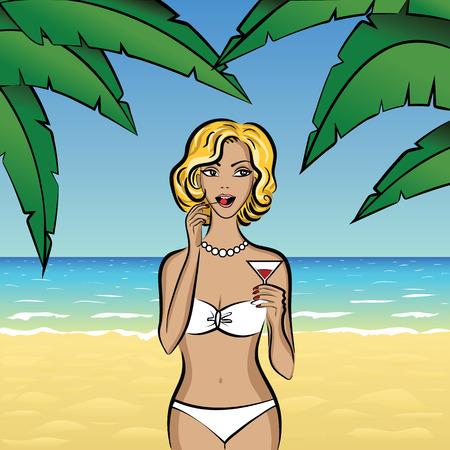 jovenes tomando alcohol: Ilustración de la mujer rubia de cóctel beber en la playa