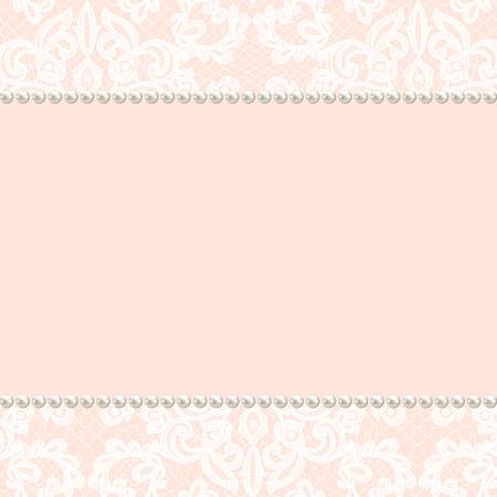 結婚式招待状やグリーティング カード レース背景にパール フレーム
