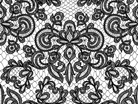 Seamless black lace background with floral pattern Çizim