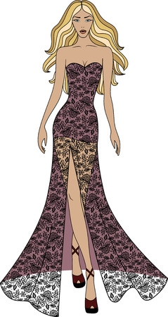 dress: Fashion illustration of woman in long lace dress