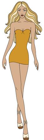 short dress: Fashion illustration of woman in short yellow dress