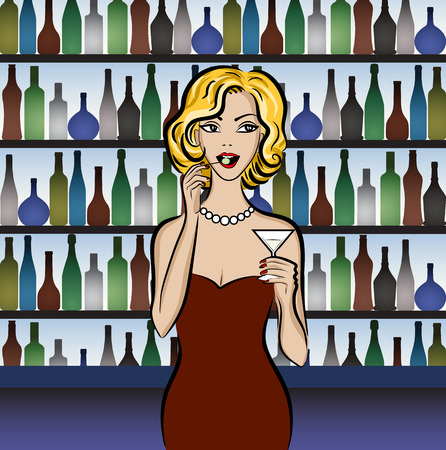 elegant party: Illustration of blonde woman drinking martini with olive