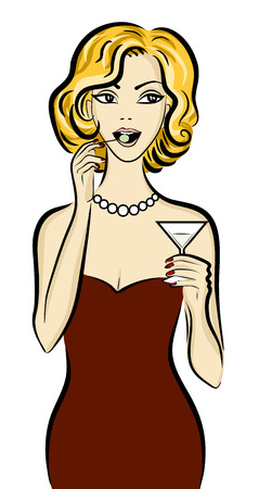 bar counter: Illustration of blonde woman drinking martini with olive