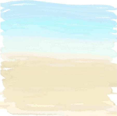 beach: estate illustrazione Acquerello di sabbia e l'oceano