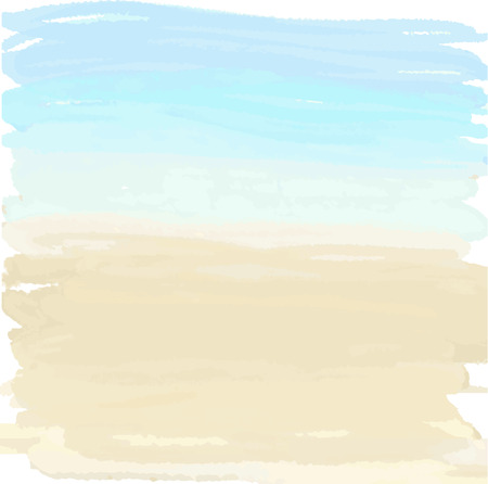 with ocean: Watercolor summer illustration of sand and ocean
