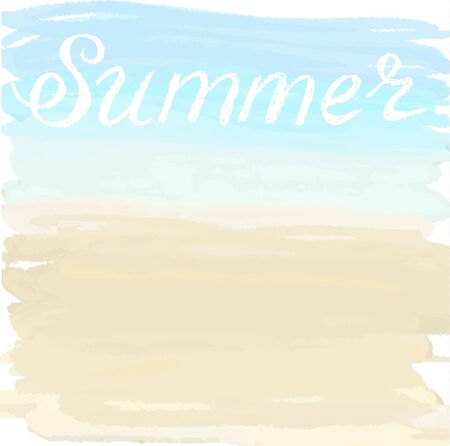coastlines: Watercolor summer illustration of sand and ocean