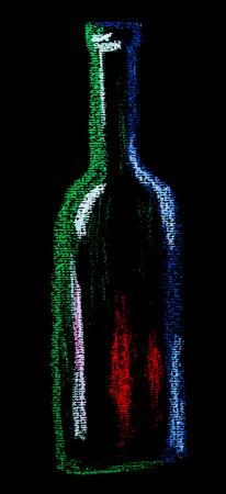 wine background: Illustration of wine drawn by chalk on black board