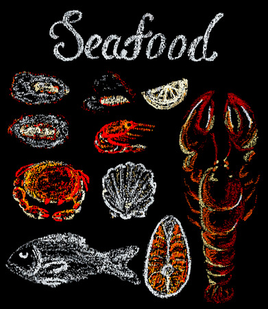 Black chalkboard with hand drawn different seafood