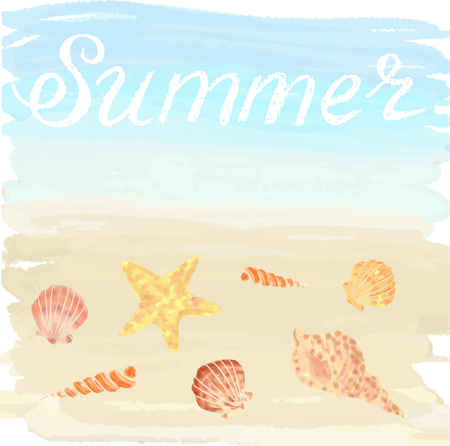 cockleshell: Illustration with ocean and shells on sand