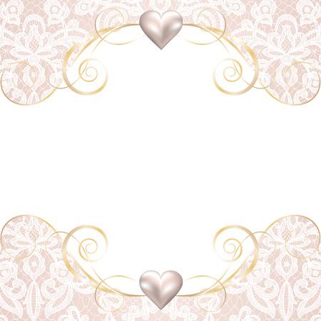 düğün: Dantel arka plan üzerinde inci çerçevesi ile düğün davetiyesi veya tebrik kartı