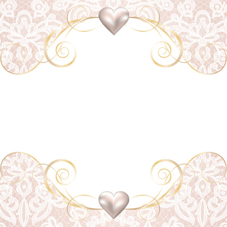 Wedding invitation or greeting card with pearl frame on lace background Ilustração