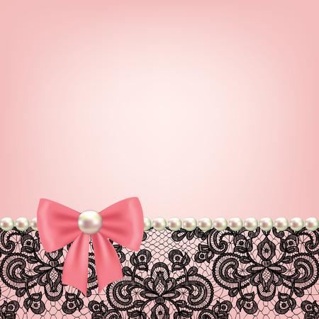 moño rosa: Invitación de la boda o tarjeta de felicitación con marco de perlas en el fondo de encaje Vectores
