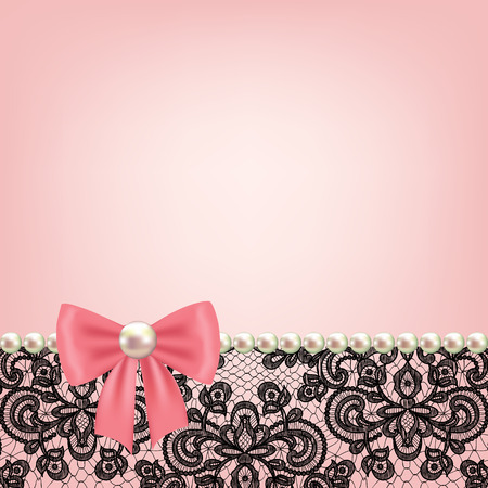 pink ribbons: Wedding invitation or greeting card with pearl frame on lace background Illustration