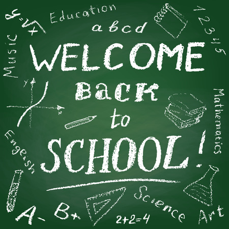 green board: Green board with text Welcome Back to School