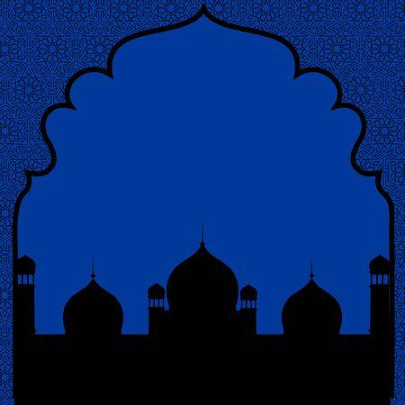 Islamic greetings card with mosque for Eid ul Fitr or Ramadan
