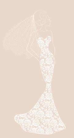 siluetas mujeres: Ilustración de la manera de la novia con velo en vestido de encaje Vectores