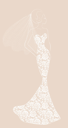 Fashion illustration of bride with veil in lace dress Illustration